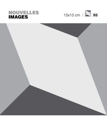 Stickers cube gris effet 3D zoom 15 x 15 cm (Lot de 6)