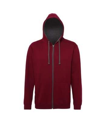 Sweat zippé à capuche unisexe - JH053 - bordeau et gris
