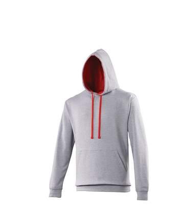 Sweat à capuche contrastée unisexe - JH003 - gris clair et rouge