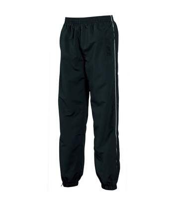 Tombo Teamsport Mens Piped Lined Sports Training Pants / Tracksuit Bottoms (Black/White piping) - UTRW1530
