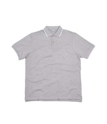 Mantis Mens The Tipped Polo Shirt (Heather Marl/White) - UTPC3672