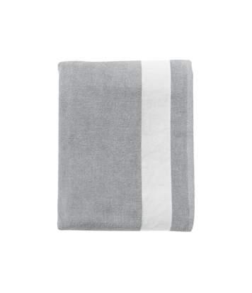 Drap de plage ou drap de bain - 89006 - gris - coton velours