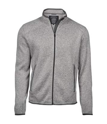 Tee Jays Mens Knitted Outdoor Fleece Jacket (Grey Melange) - UTPC3416