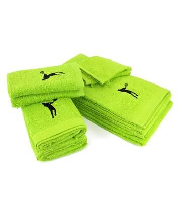 Parure de bain 8 pièces 100% coton 550 g/m2 PURE TENNIS Vert Pistache