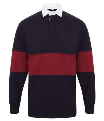 Maillot col polo de rugby homme - FR07M - bleu marine et bordeau