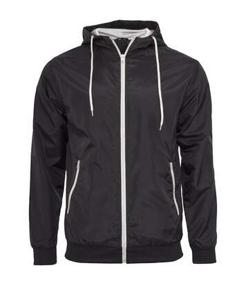 Build Your Brand Mens Zip Up Wind Runner Jacket (Black/White) - UTRW5676