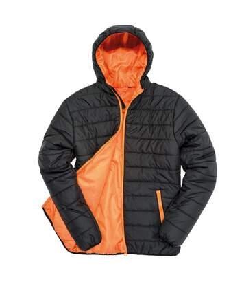 Doudoune à capuche homme - R233M - noir et orange