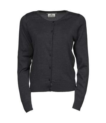 Pull boutonné cardigan laine col rond - FEMME - 6005 - gris foncé