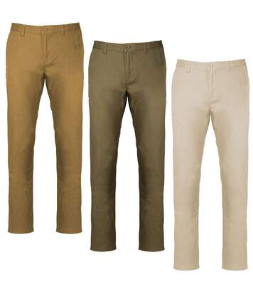 Lot 3 pantalons toile chino - homme K740 - beige clair kaki camel