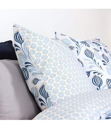 Parure de lit 260x240 cm 100% coton BAOBA bleu Denim 3 pièces