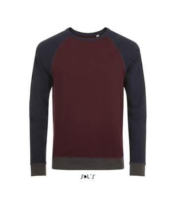 Sweat shirt vintage unisexe - 01700 - rouge bordeau chiné