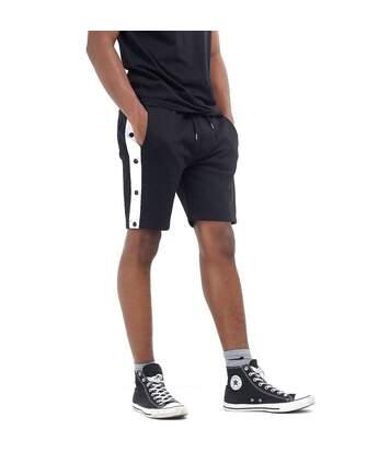 Brave Soul Popper Detail Jersey Shorts (Black/White Stripe) - UTSHORTS244