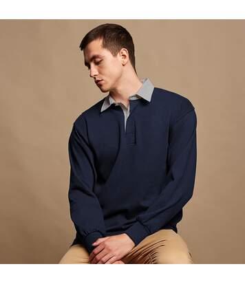 Front Row Mens Long Sleeve Sports Rugby Shirt (Navy/Slate collar) - UTRW473