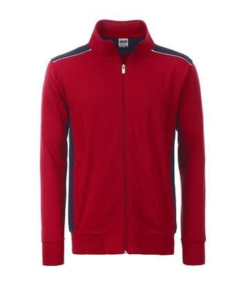 Sweat de travail zip intégral - homme - JN870 - rouge