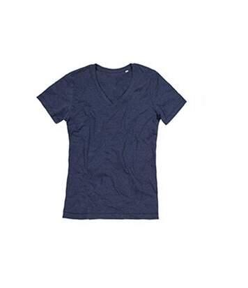 Stedman Mens Luke Melange V Neck T-Shirt (Navy Heather) - UTAB394