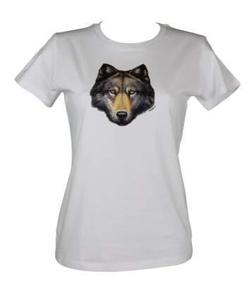 T-shirt femme manches courtes - loup 13104 - blanc