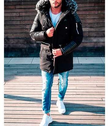 Manteau noir parka longue avec empiècement simili cuir matelassée à capuche fausse fourrure noir gris pour homme