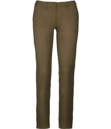 pantalon chino pour femme - K741 - vert khaki