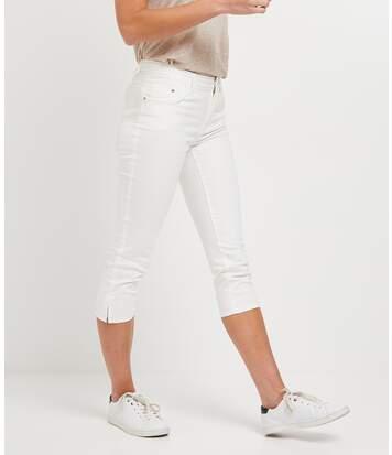 Corsaire en jean de couleur femme