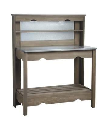 Table à plancha en bois et zinc
