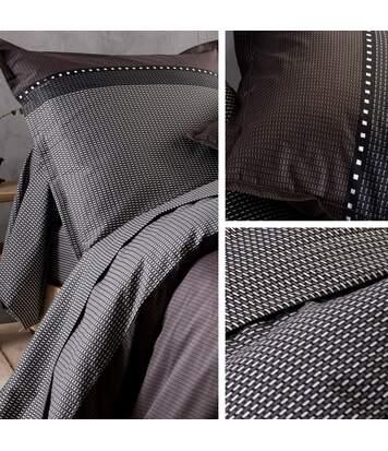 Parure de lit 200x200 cm satin de coton ENZO noir 3 pièces