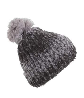 Womens/Ladies Knitted Winter Beanie Hat With Pom Pom (Grey/Black) - UTHA544