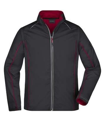 Veste softshell manches amovibles - homme - JN1122 - noir et rouge