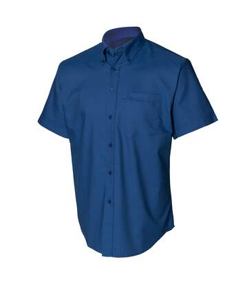 Henbury Mens Short Sleeve Classic Oxford Work Shirt (Dark Blue) - UTRW639