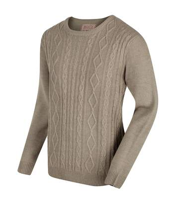 Regatta Mens Koby Mid Weight Cable Knit Sweater (Parchment) - UTRG3082