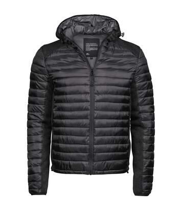 Tee Jays Mens Crossover Hooded Padded Outdoor Jacket (Black/Black Melange) - UTPC3415
