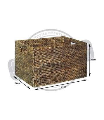 Panier de rangement en rotin antique Longueur 34cm