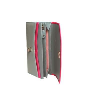 Eastern Counties Leather - Portefeuille Aria Avec Fermoir Twist - Femme (Fushia/ Gris) - UTEL110