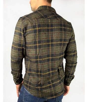 Chemise kaki à carreaux surchemise épaisse à manches longues pour homme