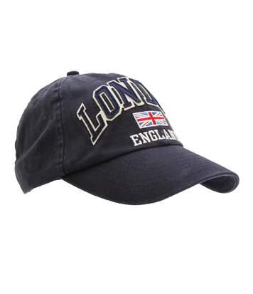 Mens London England Union Jack 3D Retro Design Baseball Cap (Navy) - UTC250