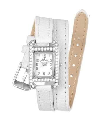 Montre Femme LOUISE PEARL Ornée de Cristaux Swarovski bracelet Cuir Blanc