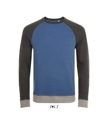 Sweat shirt vintage unisexe - 01700 - bleu ardoise chiné