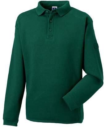 Sweat-shirt lourd col polo pour homme - R-012M-0 - vert bouteille