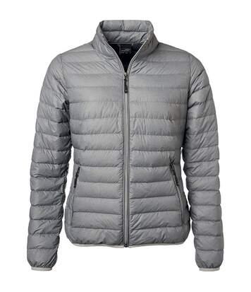 Veste doudoune matelassée duvet - JN1139 - gris argent - Femme