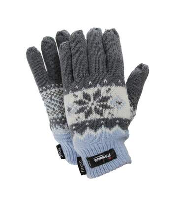 FLOSO Ladies/Womens Thinsulate Fairisle Thermal Gloves (3M 40g) (Blue) - UTGL519