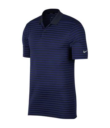 Polo de golf à rayures NIKE - homme - NK311 - bleu roi et gris