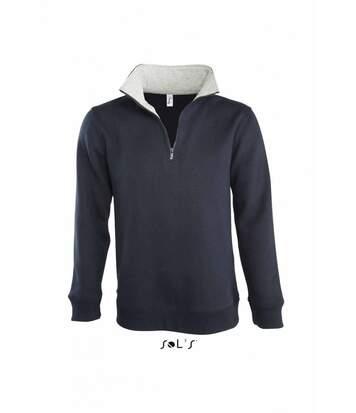 Sweat-shirt HOMME col camionneur zippé - 47300 - bleu marine