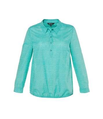 ULLA POPKEN blouse avec imprimé à pois et ourlet élastique turquoise NEW