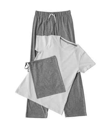 Towel City Womens/Ladies Pyjama T-Shirt And Bottoms Set (White/Heather Grey) - UTRW5461