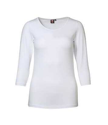Id - T-Shirt À Manches 3/4 (Coupe Féminine) - Femme (Blanc) - UTID338