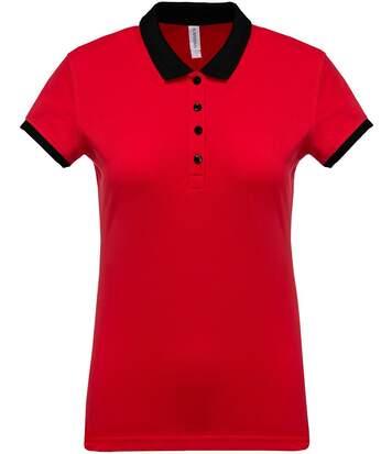 Polo bicolore pour femme - K259 - rouge - manches courtes