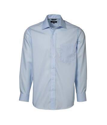 ID Mens Easy Iron Exclusive Poplin Regular Fitting Long Sleeve Shirt (Light blue) - UTID334