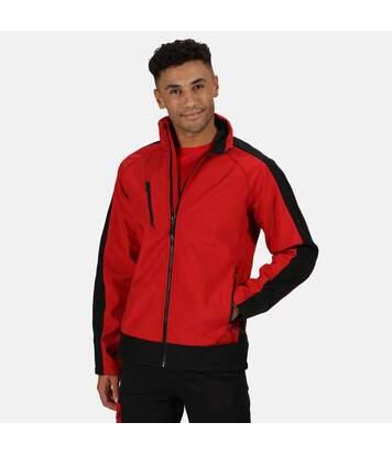 Regatta Mens Contrast 3 Layer Softshell Full Zip Jacket (Orient Red/Jet Black) - UTRG3747