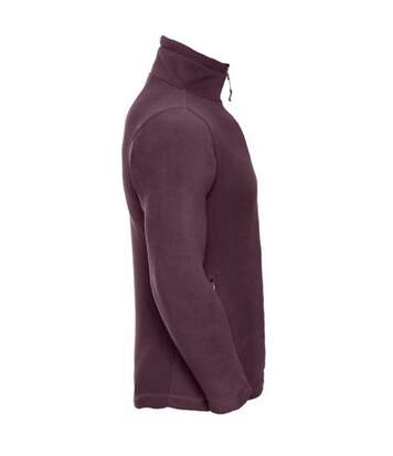 Russell Mens 1/4 Zip Outdoor Fleece Top (Burgundy) - UTBC1438