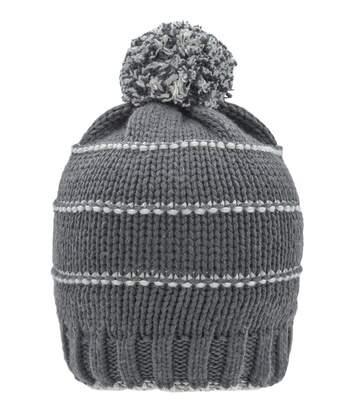 Bonnet tricot à pompon surpiqûres contrastées - MB7144 - gris carbone
