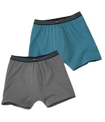 Pack of 2 Men's Monochrome Comfort Stretch Boxers - Turquoise Grey